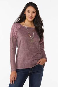 Lace Shoulder Hacci Top