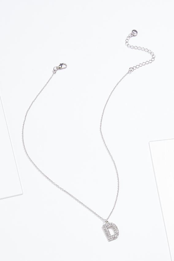 Rhinestone D Pendant Necklace