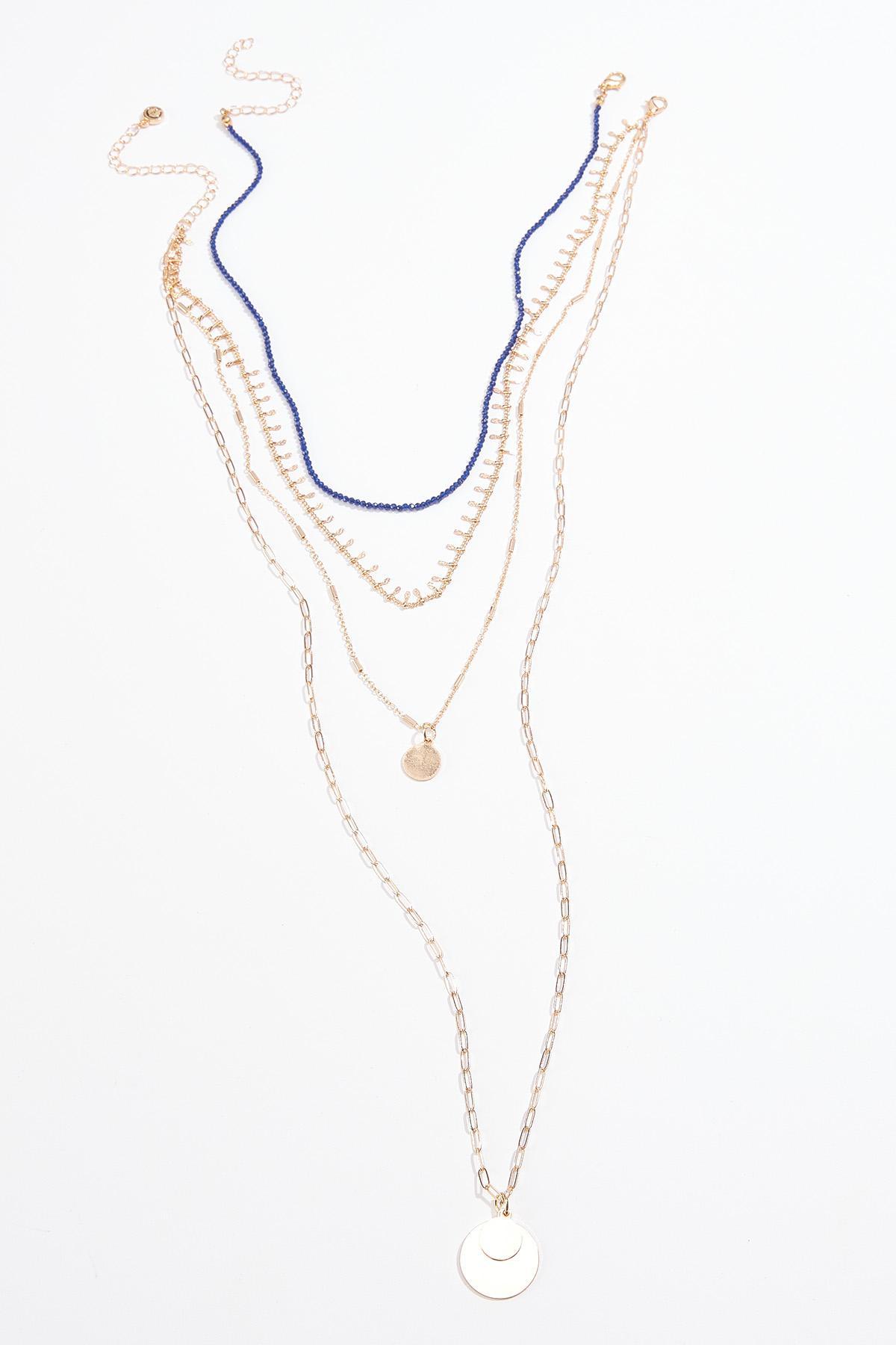 Navy Bead Layered Necklace Set