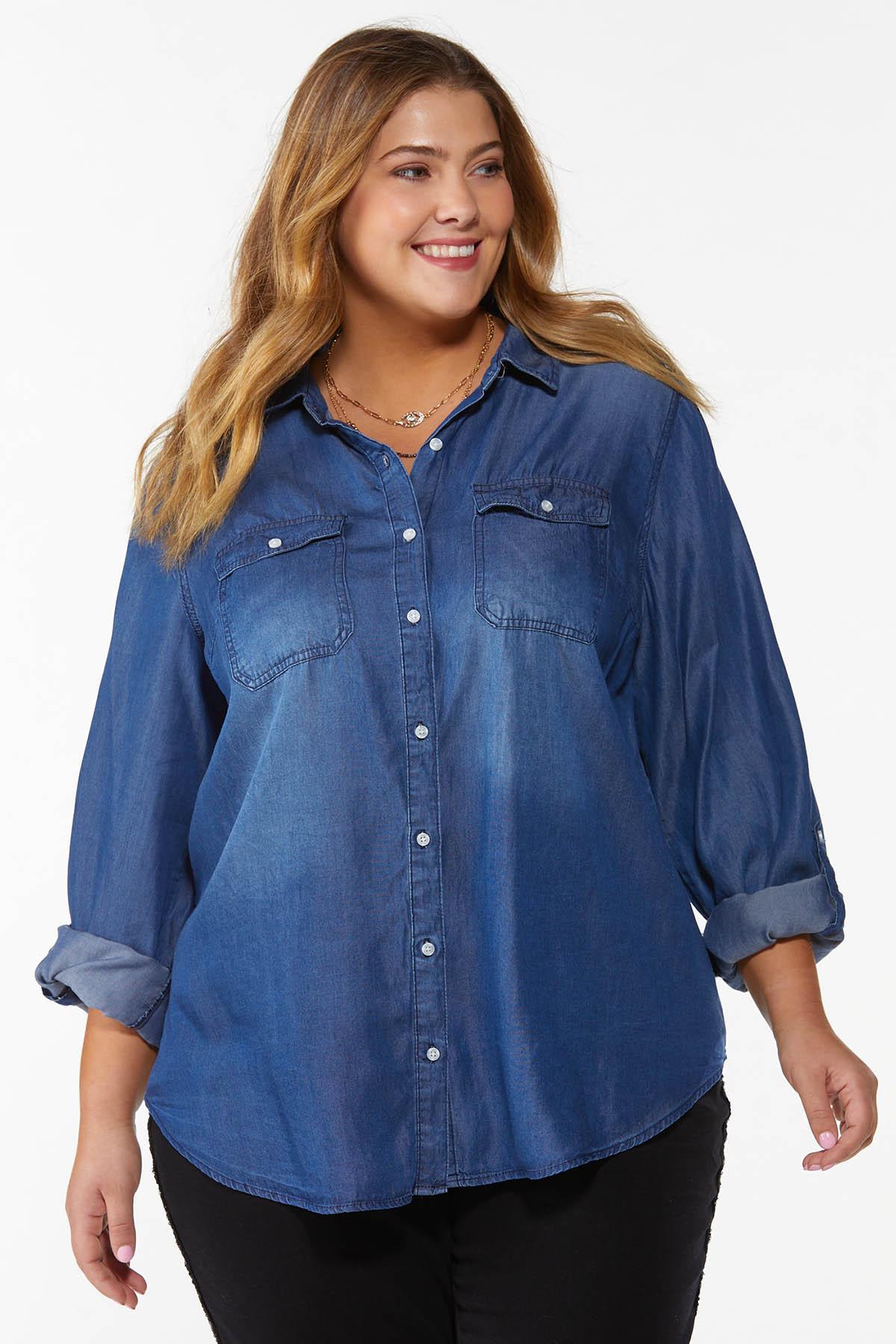 Plus Size Dark Wash Denim Shirt