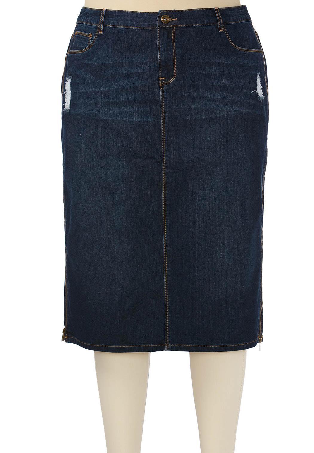 distressed denim skirt plus denim cato fashions