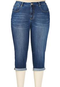 Medium Wash Roll Cuff Cropped Jeans-Plus EXT