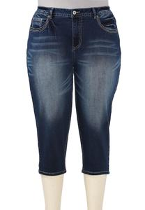 Heavy Stitched Cropped Jeans-Plus