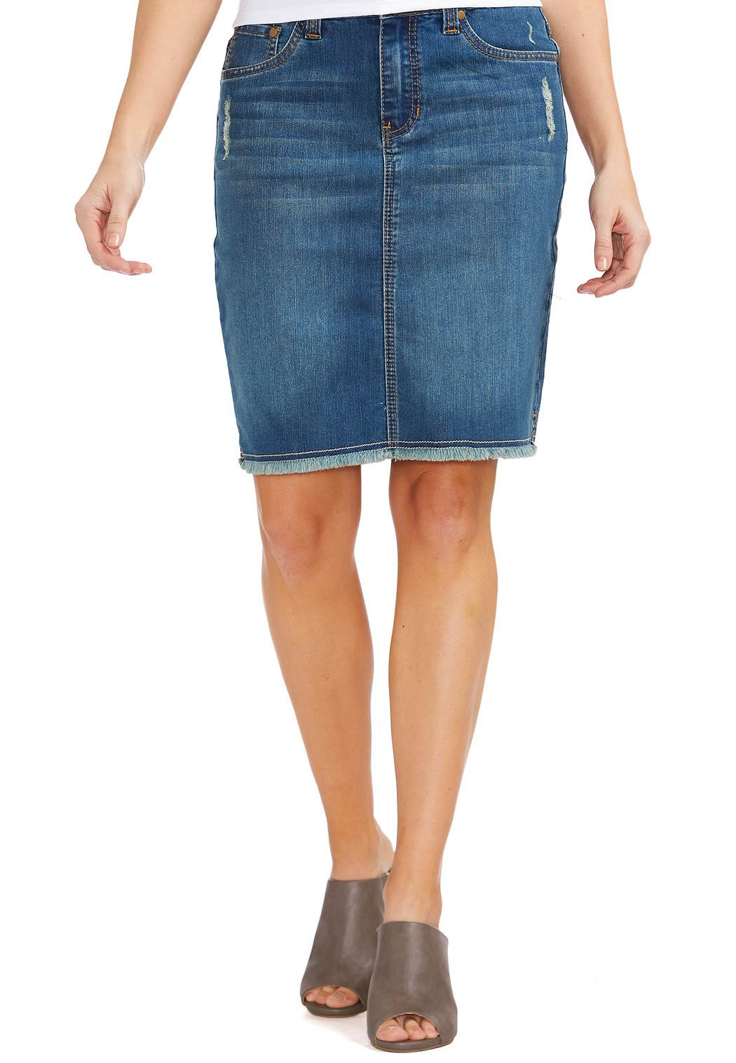 Cato Fashions Plus Size Skirts Frayed Hem Denim Skirt Plus