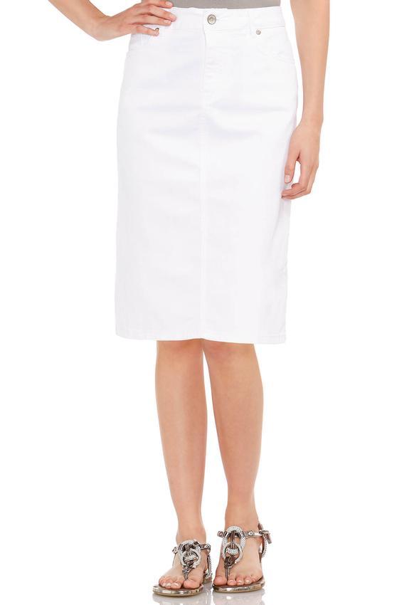 laser cut pocket white denim skirt plus skirts cato fashions