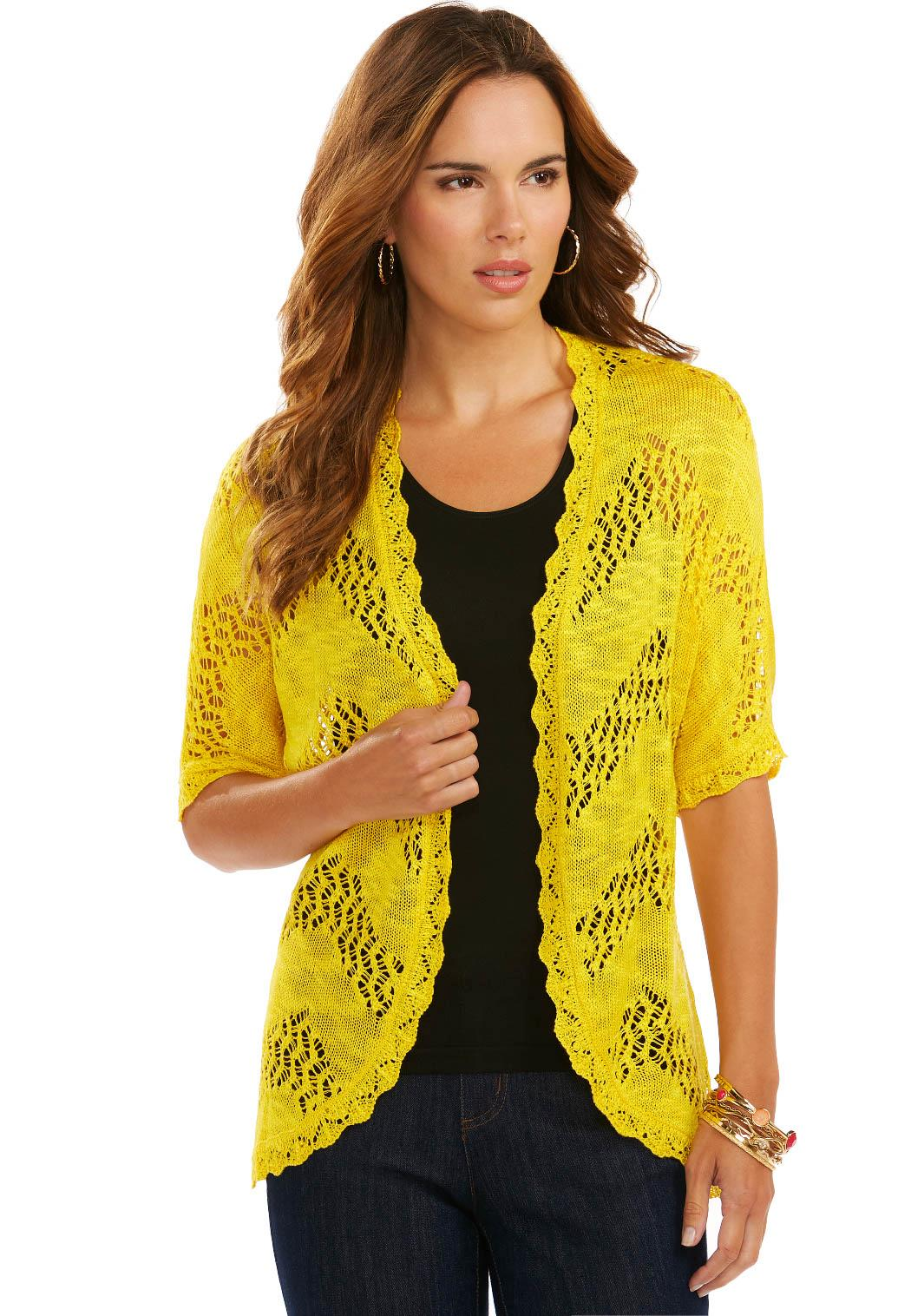 Cato Fashions Shrugs Chevron Crochet Cardigan Plus