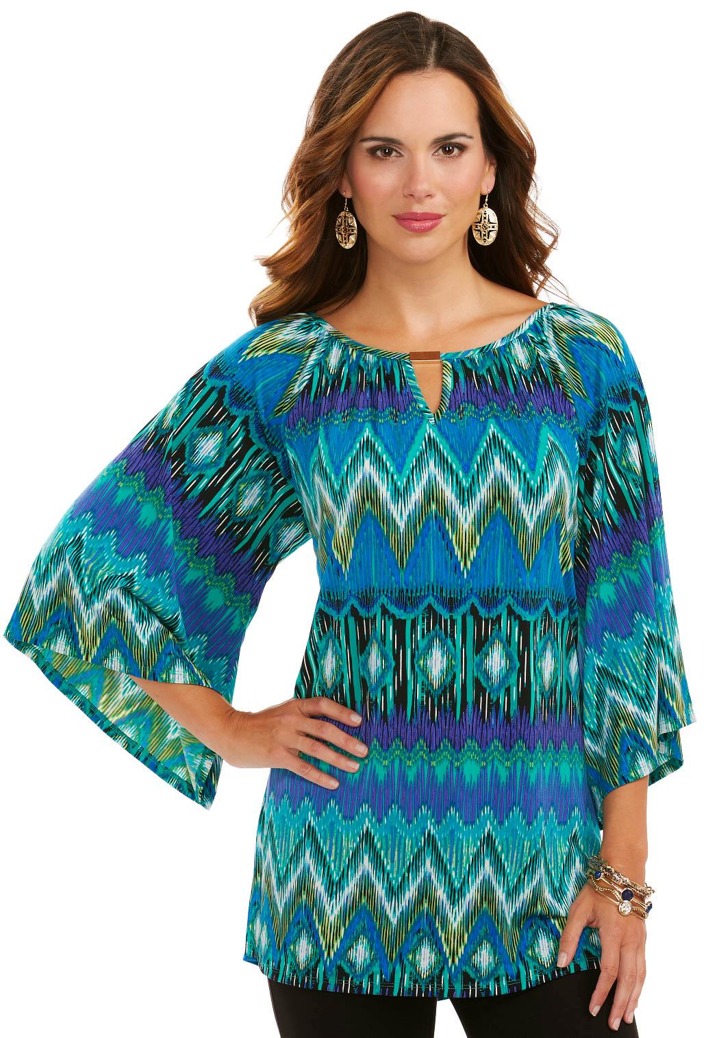 Cato Fashions Plus Size Angel Sleeve Lace Top Keyhole Chevron Tunic Top