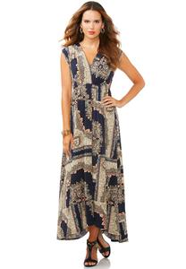 Catofashions.com Dresses Patchwork Print Maxi Dress
