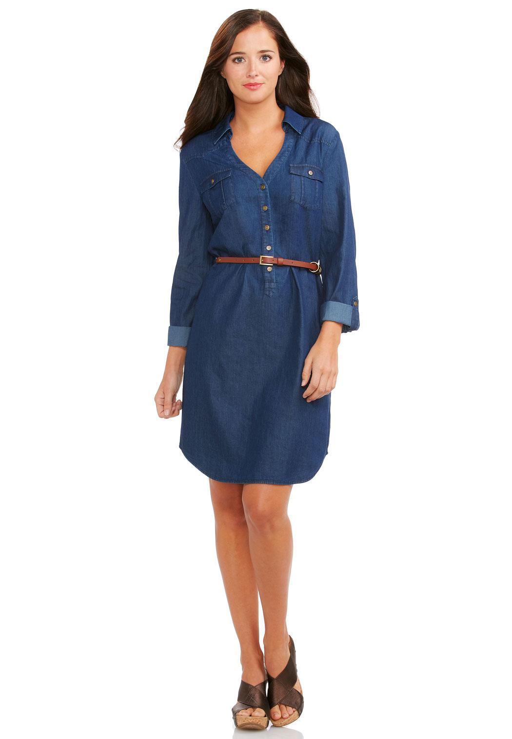 Cato Fashions Online Payments Belted Denim Shirt Dress