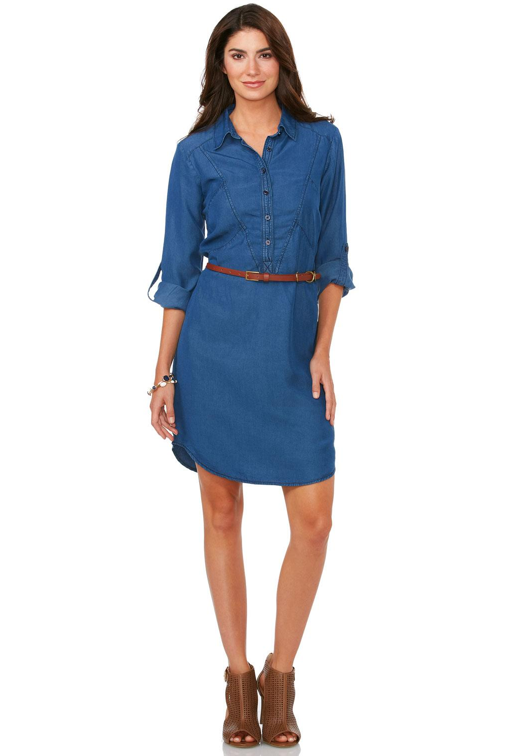 Belted chambray shirt dress for Belted chambray shirt dress
