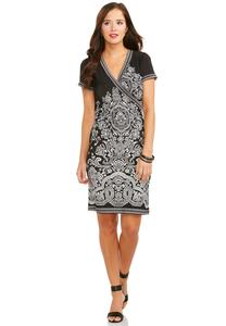 Catofashions.com Dresses Tile Print Faux Wrap Dress