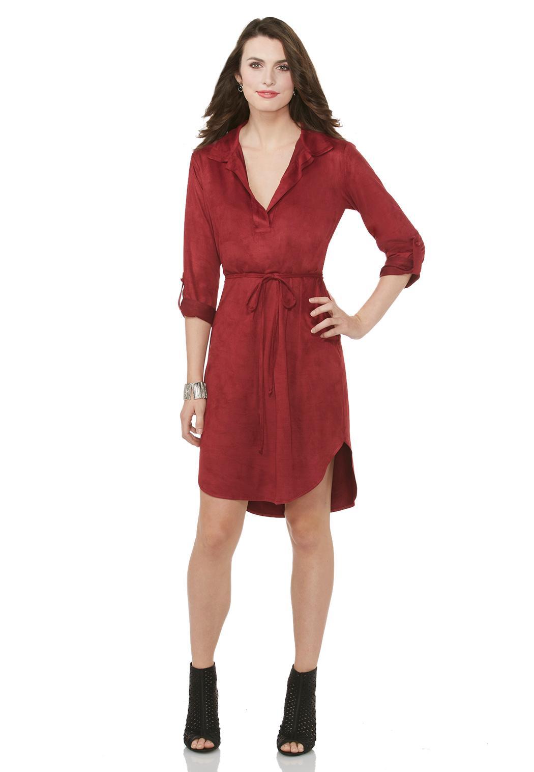 Faux Suede Shirt Dress Dresses Cato Fashions