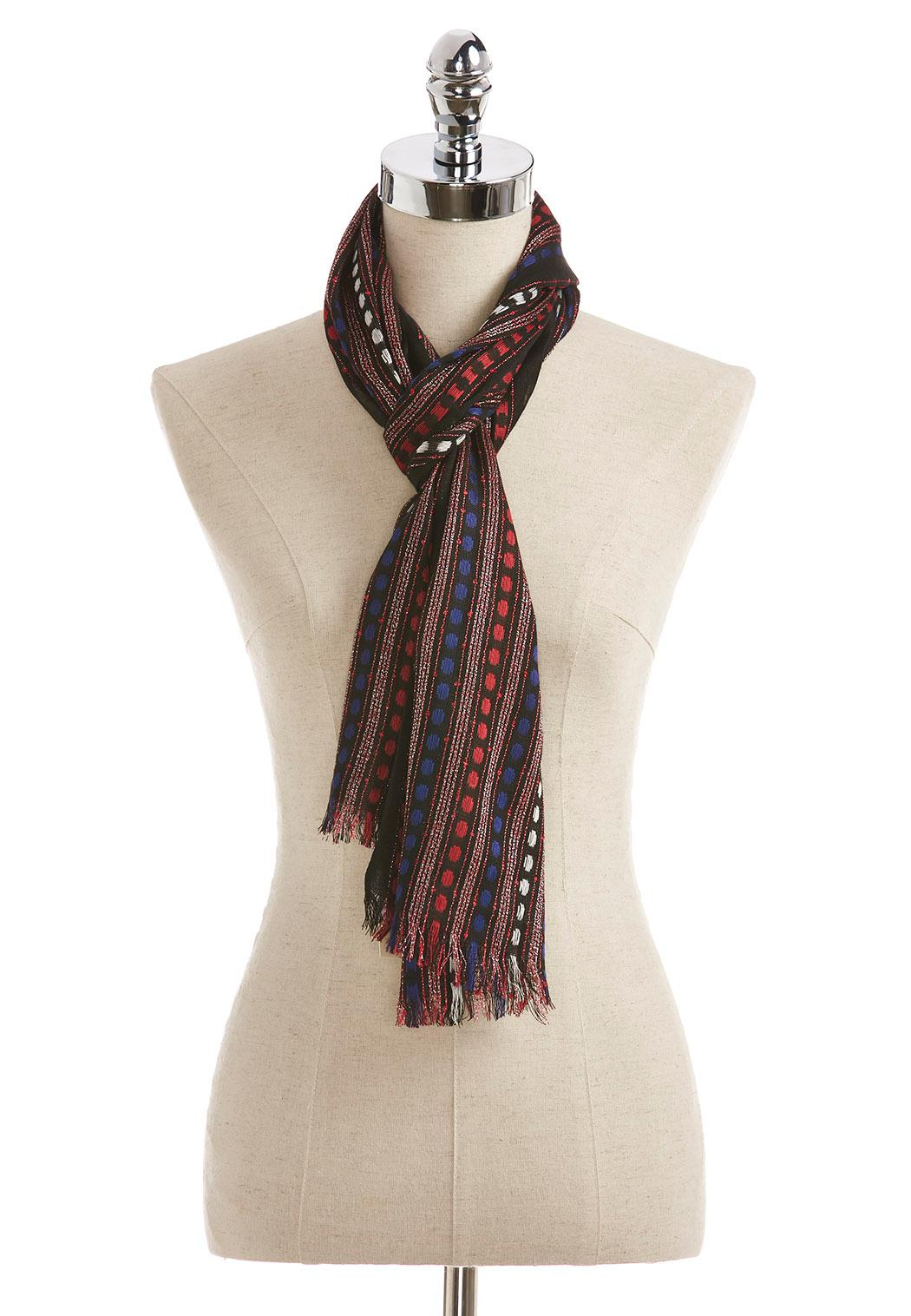 lurex striped oblong scarf scarves cato fashions