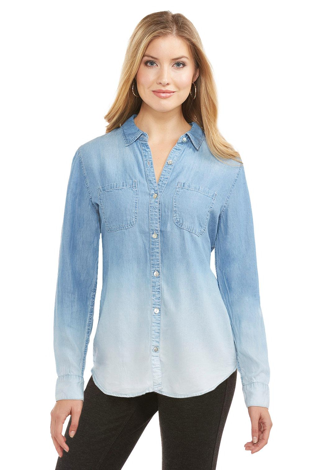 Ombr Chambray Shirt Plus Tops Cato Fashions