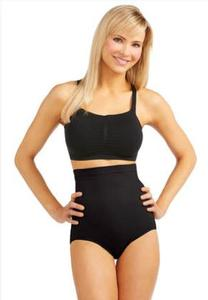 Plus Extended Black High Waist Seamless Panties