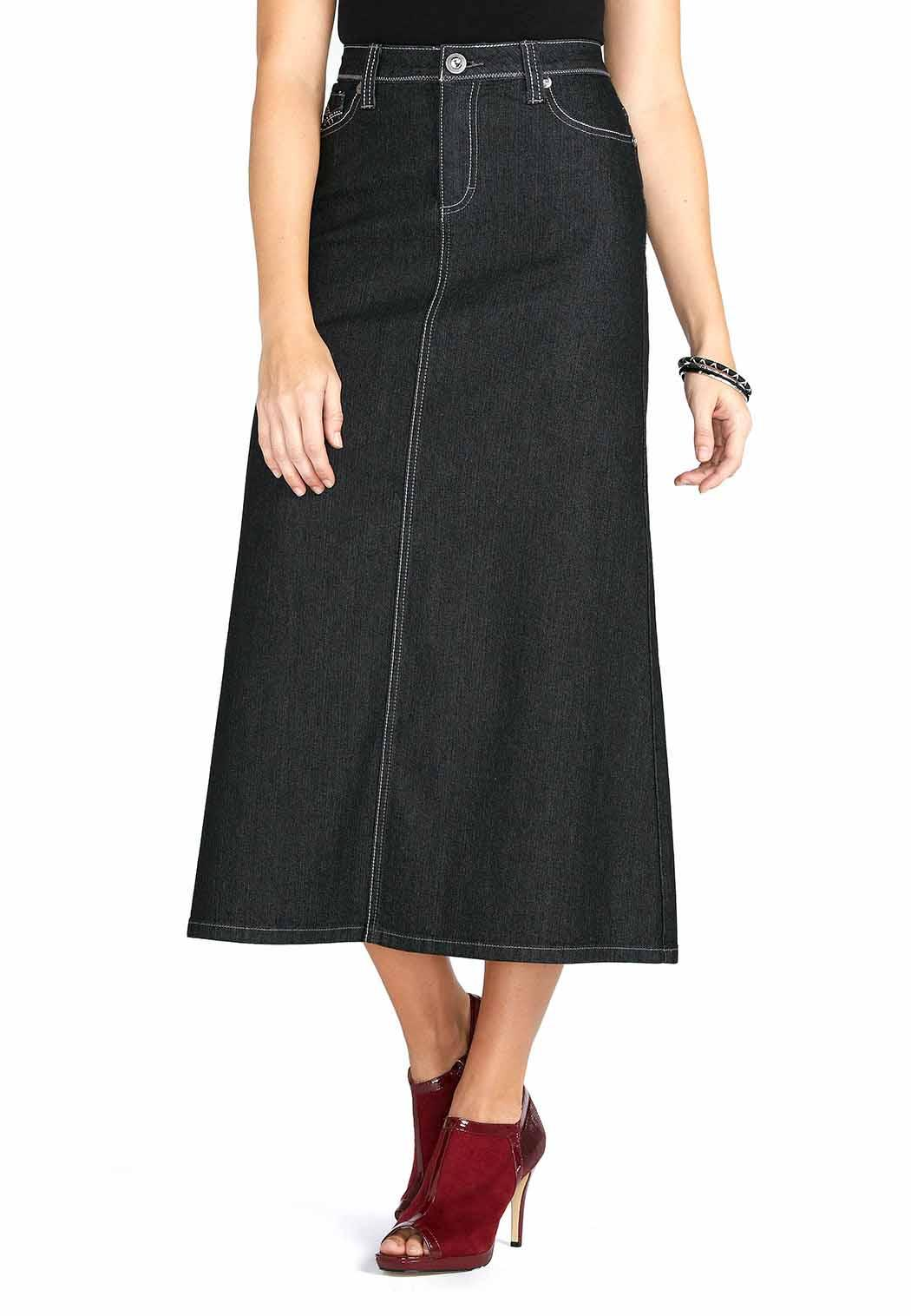 Maxi plus size skirts drape beautifully over the body to provide extra coverage with a sophisticated design. A long, black skirt is a versatile choice for any closet. Pair this flowing garment with a cozy plus size sweater for an elegant winter look, or top it with a breezy chiffon tank in the summer.