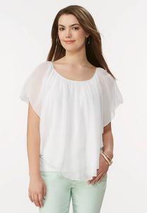 Ruffled Capelet Top- Plus