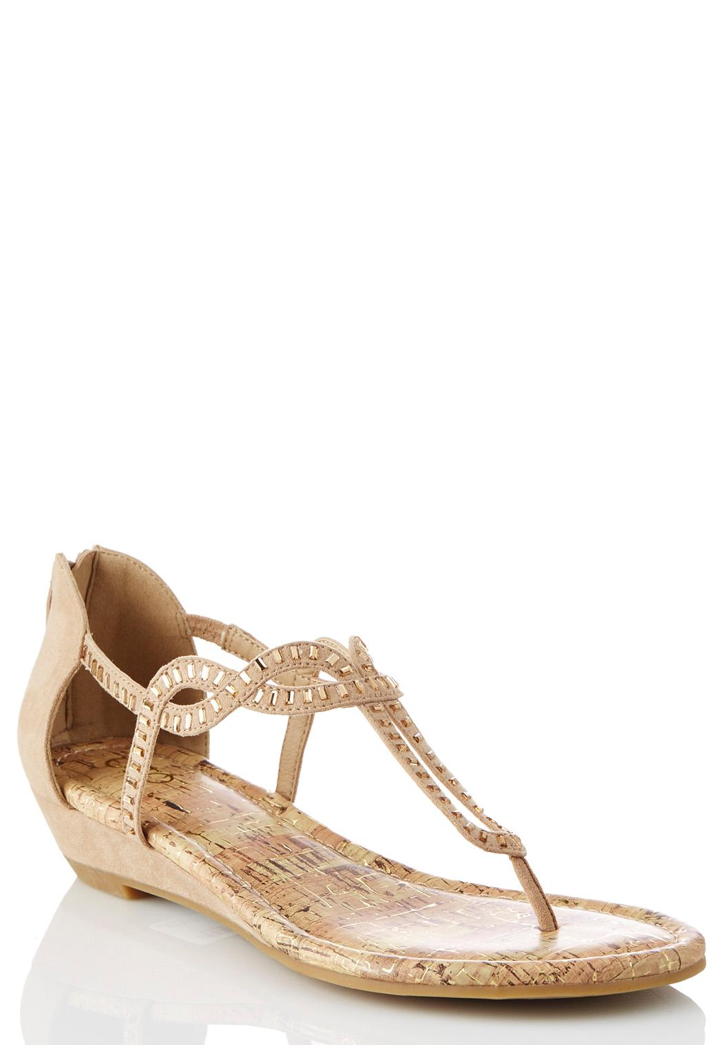 Wide Width Embellished Wedge Sandals Wide Width Cato Fashions