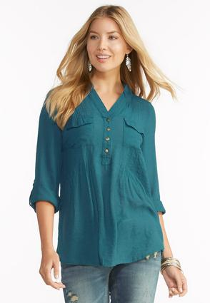 Pleated Henley Popover Top