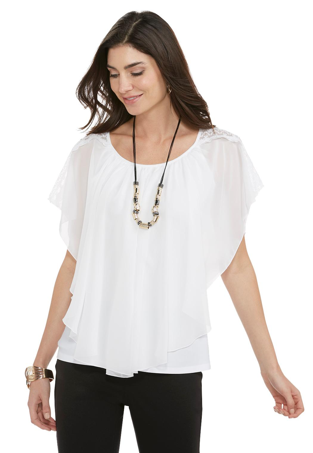 Lace Shoulder Capelet Top Tops Cato Fashions