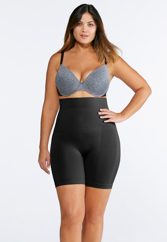 Black Seamless High Waist Shorts-Plus Intimates Cato Fashions