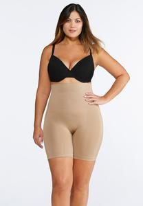 Plus Size Nude Seamless High Waist Shorts