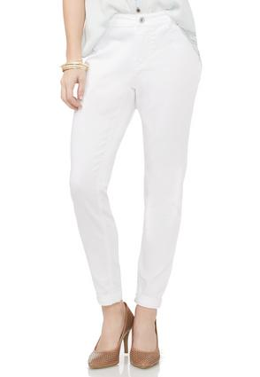 White Cuffed Ankle Jeans