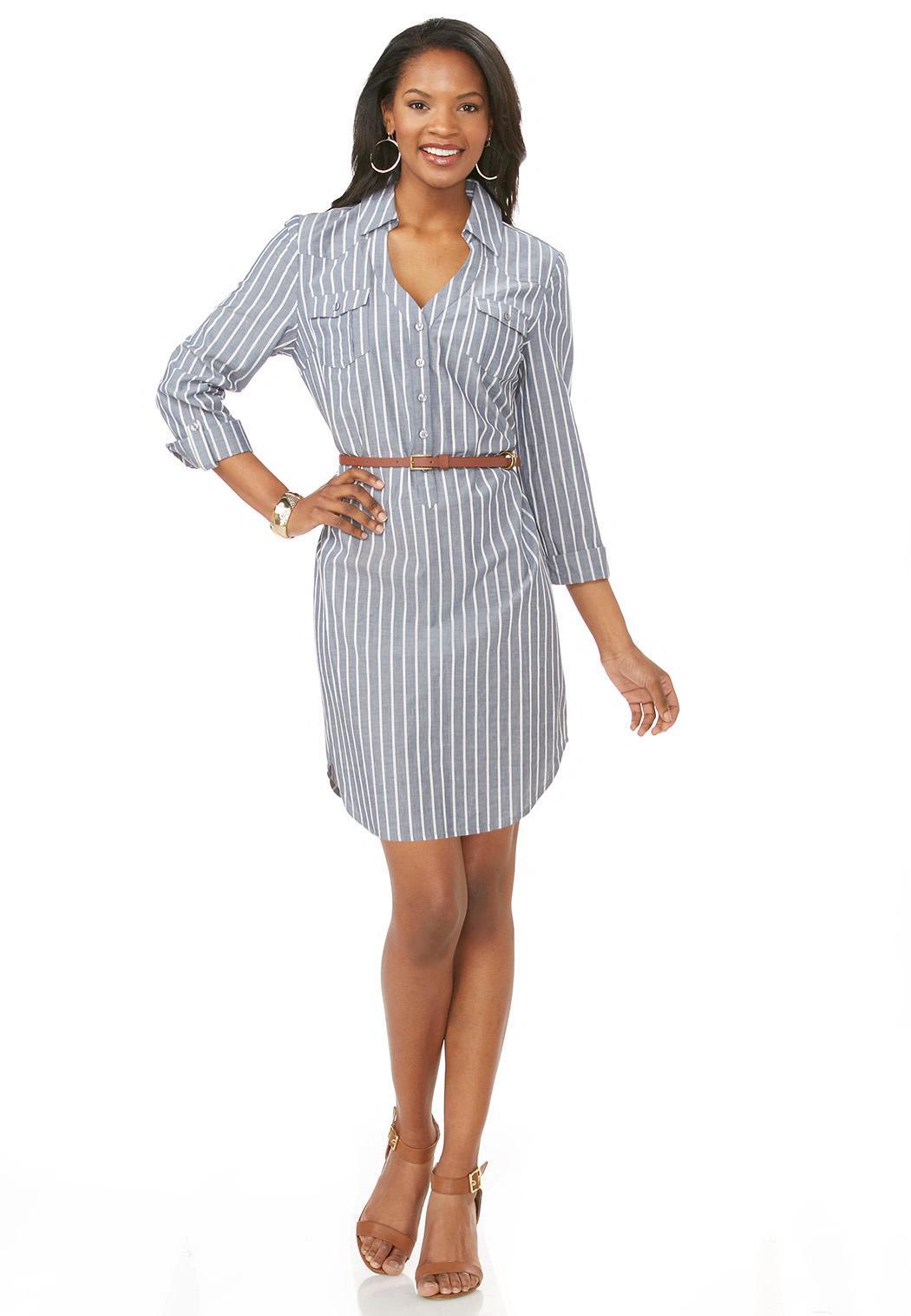 belted pinstripe denim shirt dress dresses cato fashions