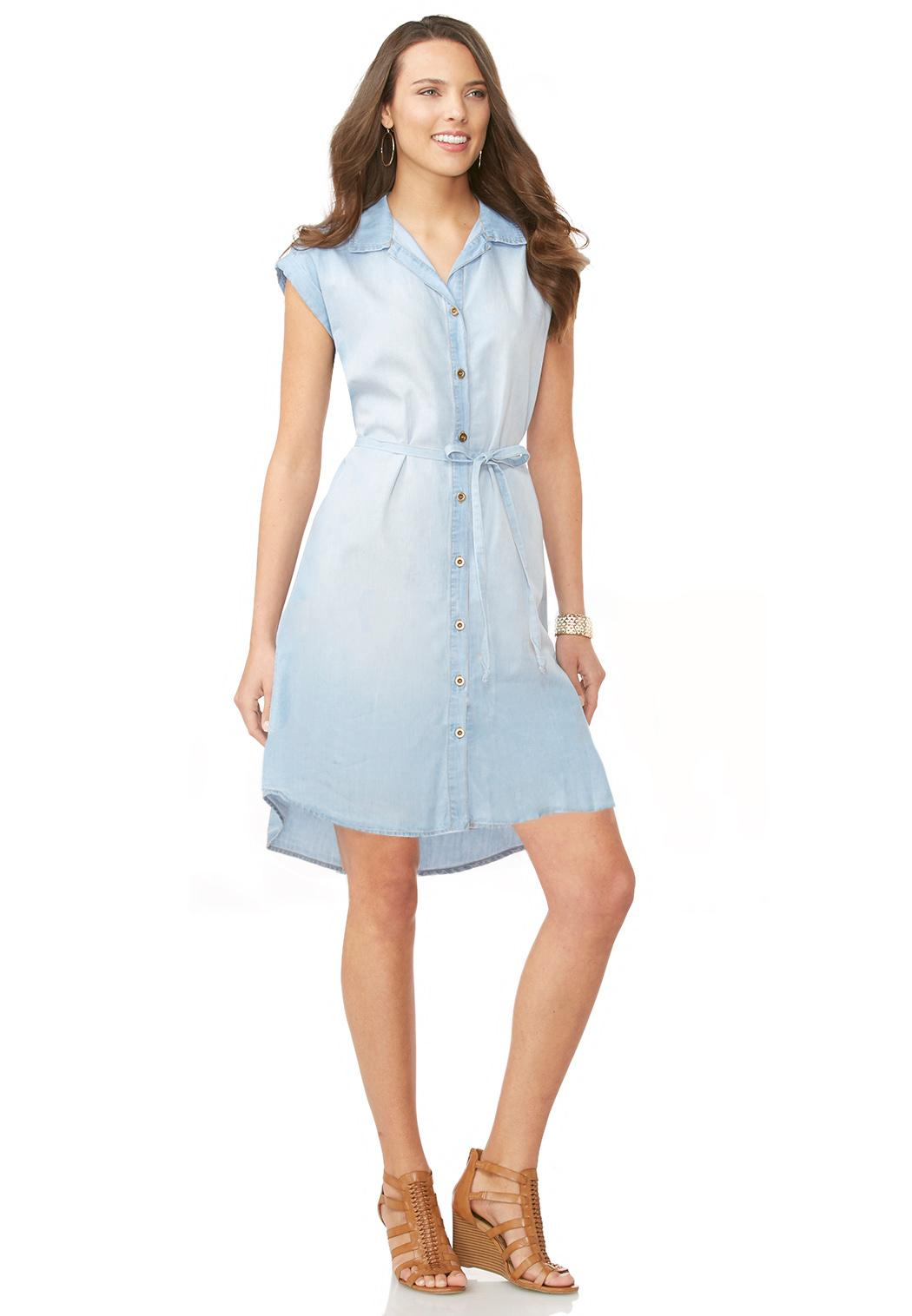 Belted chambray shirt dress dresses cato fashions for Belted chambray shirt dress