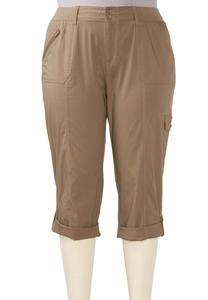 Cuffed Cropped Cargo Pants- Plus
