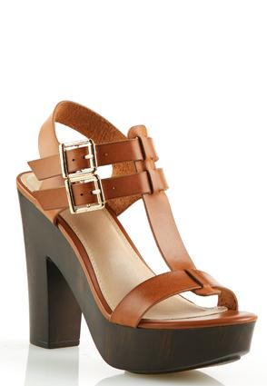T Strap Chunky Heeled Sandals Sandals Cato Fashions