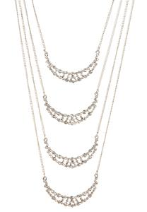 Layered Pave Crescent Necklace