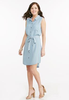Belted chambray shirt dress petite petites cato fashions for Belted chambray shirt dress