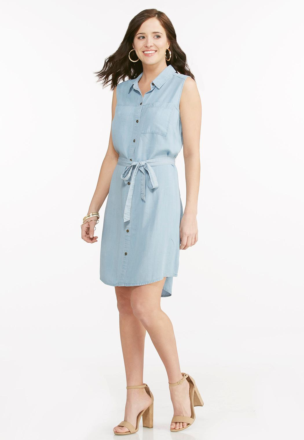 Belted chambray shirt dress plus dresses cato fashions for Belted chambray shirt dress