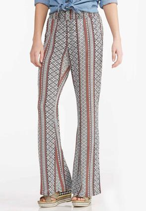 Floral Scroll Striped Palazzo Pants
