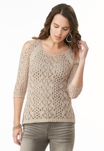 Open Stitch Cold Shoulder Sweater