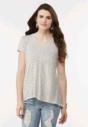 Mixed Stripe High- Low Top