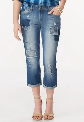 Distressed Patchwork Crop Jeans