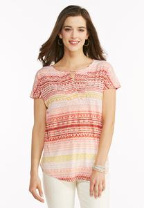 Ikat Striped High- Low Top