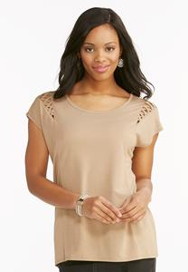 Lattice Shoulder Tee- Plus