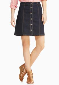 Seamed Button Front Denim Skirt
