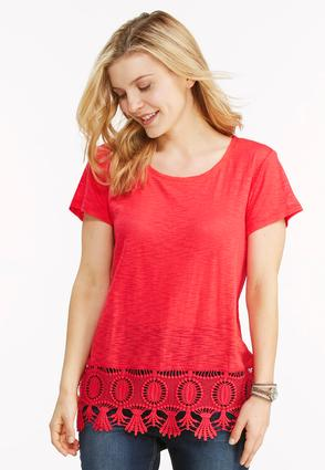 Scalloped Crochet Hem Top- Plus