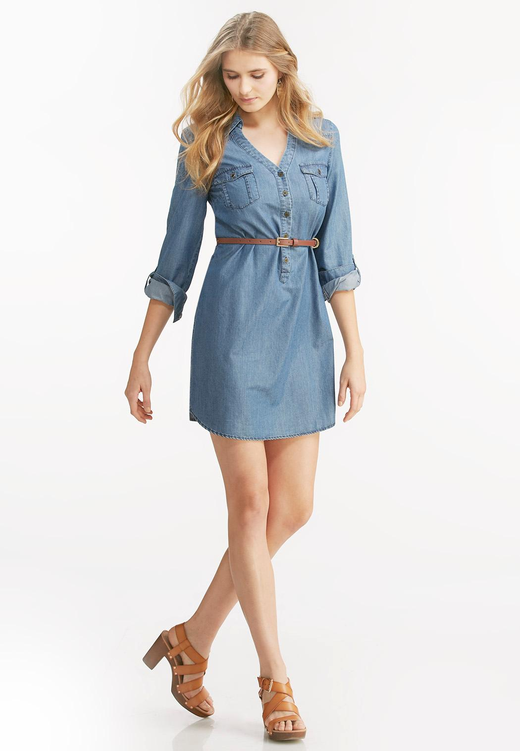 Belted chambray shirt dress plus dresses cato fashions for Plus size chambray shirt