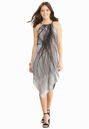 Graphic Lines Hanky Hem Dress- Plus