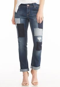 Patchwork Skinny Ankle Jeans