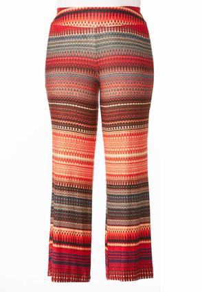 Tribal Striped Palazzo Pants- Plus