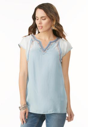Embellished Ombre Chambray Tunic
