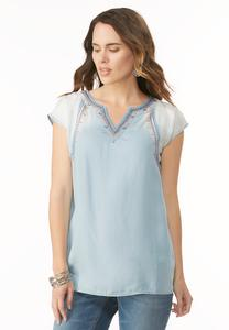 Embellished Ombre Chambray Tunic-Plus