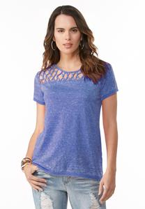 Knotted Neck Burn Wash Tee- Plus