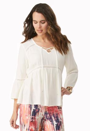 Lace Up Gauze Poet Top